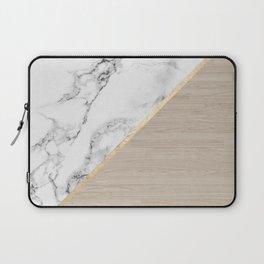 Modern white marble gold stripe wood color block Laptop Sleeve