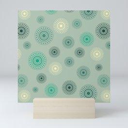 Circles in green Mini Art Print