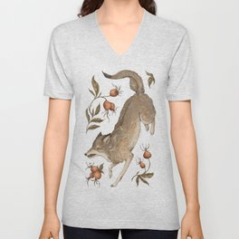 The Wolf and Rose Hips Unisex V-Neck