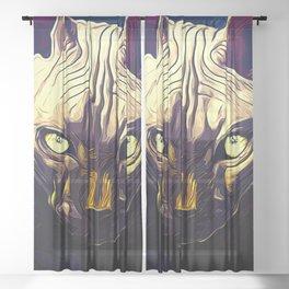 sphynx cat from hell vafn Sheer Curtain