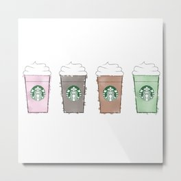 Watercolor Frappuccinos Metal Print