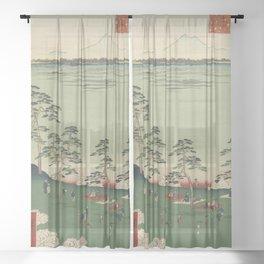 Spring Trees Mountain Ukiyo-e Japanese Art Sheer Curtain