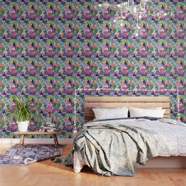 Tropical Jungle With Flamingos And Toucans Memphis Style Wallpaper