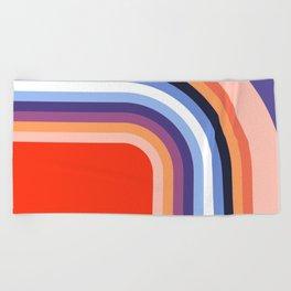 70s Stripes Rainbow 2 Beach Towel