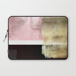 Minimal Abstract Soft Pink Landscape with Gold Laptop Sleeve