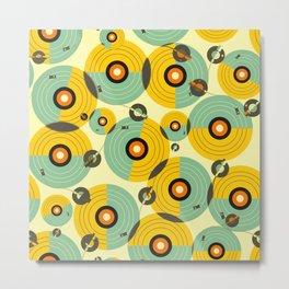 Turntables (Yellow) Metal Print