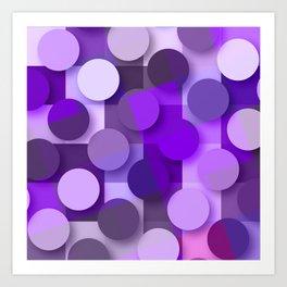 squares & dots violet Art Print