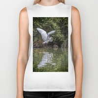 hunting Biker Tanks featuring Egret Hunting by Chris Lord