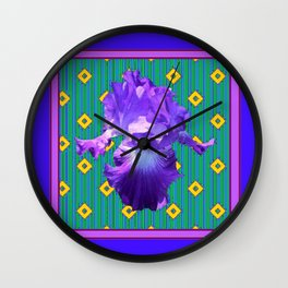 Green-Yellow Patterned Purple-Blue Bearded Iris Art Design Wall Clock