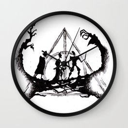 The Three Brothers Inktober Drawing Wall Clock
