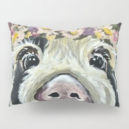 Pig Art, Flower Crown Pig, Farm Animal Pillow Sham