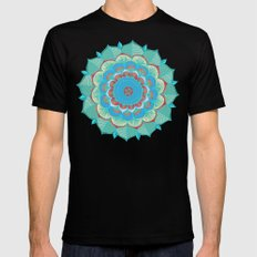 In Full Bloom - detailed floral doodle in blue, green & red 2X-LARGE Mens Fitted Tee Black