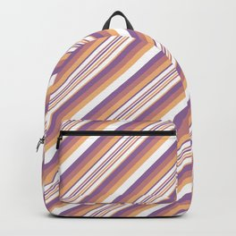Orchid Indigo Beige Inclined Stripes Backpack