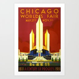Chicago Vintage Travel Poster Midcentury Colorful Art Art Print