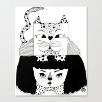 mew Canvas Prints featuring mew by Jen Lin Aliaga