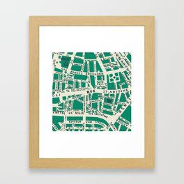 PARIS MAP GREEN Framed Art Print