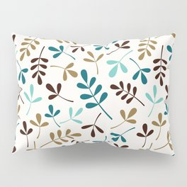 Assorted Leaf Silhouettes Teals Brown Gold Cream Ptn Pillow Sham