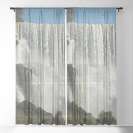 Iguassu Iguazu Waterfall Landscape Panorama Scenery, Brazil Argentina 1 Sheer Curtain
