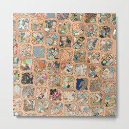 Vintage copper grid patchwork Metal Print