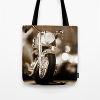 motorbike Tote Bags featuring Motorbike-Sepia by Yar's Photography