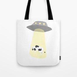 Spaceship Cow Abduction UFO Alien Moo Art Tote Bag