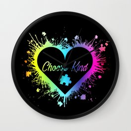 Choose Kind Colorfull Splatter Heart print Autism Awareness Wall Clock