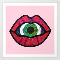 Surreal Lips Sucking on a Giant's Eye Art Print