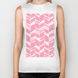 Modern abstract pink geometric brushstrokes chevron pattern Biker Tank