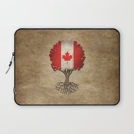 Vintage Tree of Life with Flag of Canada Laptop Sleeve