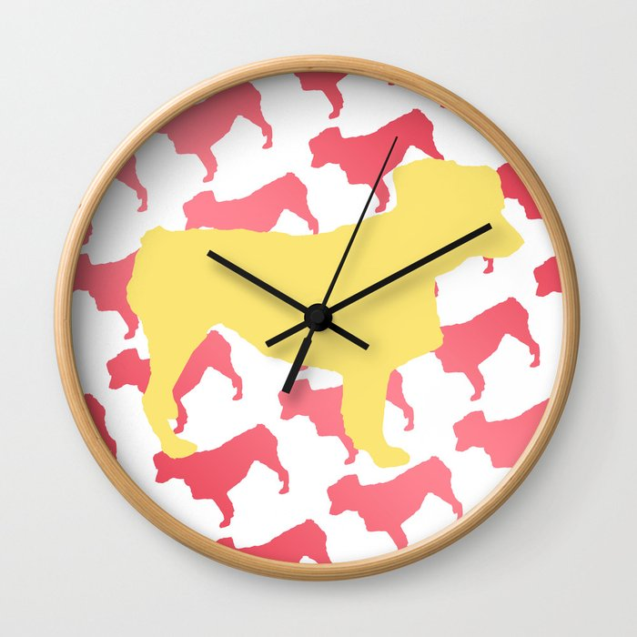 Australian Shepherd with Pink/Yellow Silhouettes Wall Clock