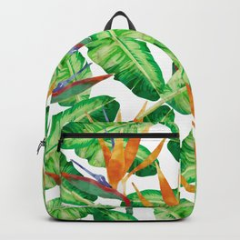 Tropical leaves and Strelitzia Backpack