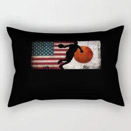 Basketball Men USA Flag Tokyo 2021 Japan Flag Rectangular Pillow