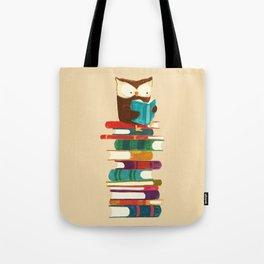 Owl Reading Rainbow Tote Bag