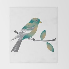 Teal and Gold Bird on a Tree Limb Throw Blanket