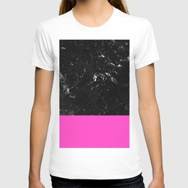 Pink Meets Black Marble #1 #decor #art #society6 T-shirt
