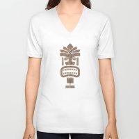 tiki V-neck T-shirts featuring Tiki 001 by Marco Recuero