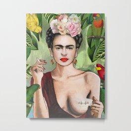 Frida Kahlo Vintage Frida Kahlo Mexican Artist Flowers Metal Print