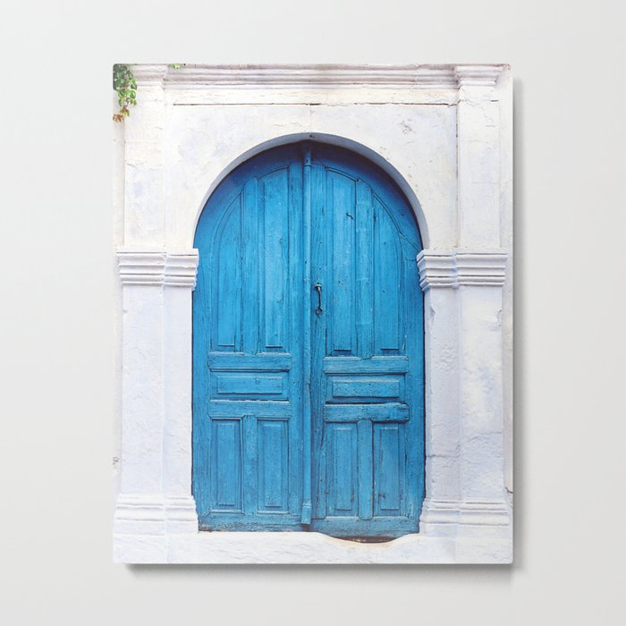 Vibrant Blue Greek Door to Whitewashed Home in Crete, Greece Metal Print