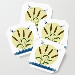 Cattails and Dragonflies Coaster