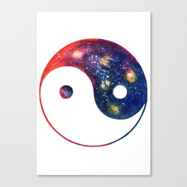 Yin Yang Symbol Watercolor Canvas Print