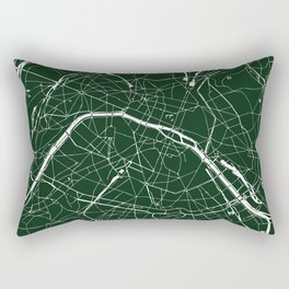 Paris France Minimal Street Map - Forest Green Rectangular Pillow