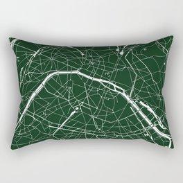 Paris France Minimal Street Map - Forest Green Rectangular Pillow