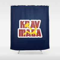 soviet Shower Curtains featuring Krav Maga Russia Soviet Union by crouchingpixel