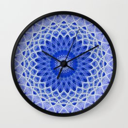 Mandala in blue and white colors Wall Clock