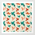 teal paper cranes by nerdydirty