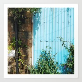 Blue Corrugated Metal and Plant Life Against a Glasgow Tenement Building Art Print