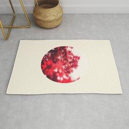 Transparent Red Japanese Maple Round Photo Rug