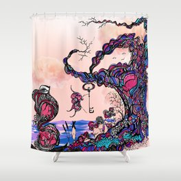 The Key is Within Black Inked Color Illustration Shower Curtain