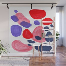 Colorful Bright Mid Century Modern Abstract Bubbles Red Purple Navy Blue Fun Pattern Wall Mural