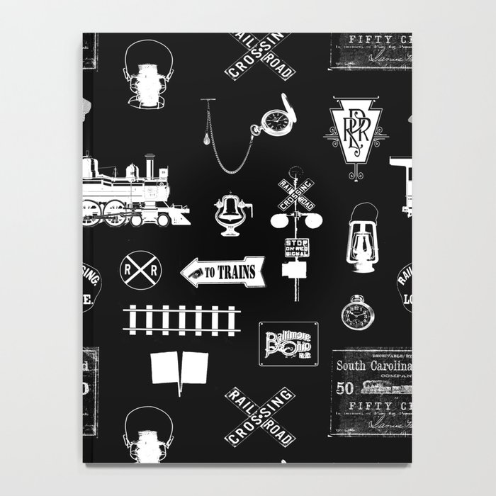 Railroad Symbols on Black Notebook